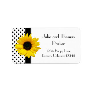 Sunflower Black White Polka Dot Wedding Address Label