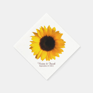 Sunflower Bloom Custom Wedding Napkins Paper Serviettes