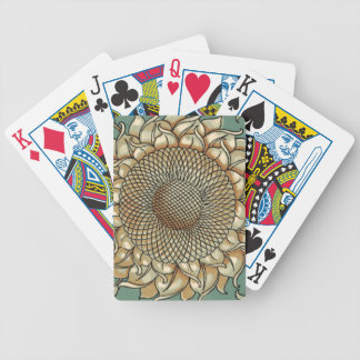 Sunflower Bloom on Blue-green Background Bicycle Playing Cards