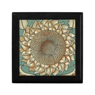 Sunflower Bloom on Blue-green Background Gift Box