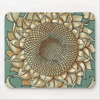 Sunflower Bloom on Blue-green Background Mouse Mat