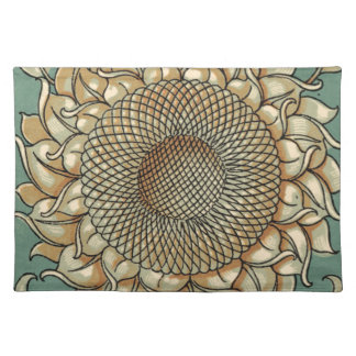 Sunflower Bloom on Blue-green Background Placemat