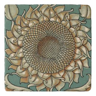 Sunflower Bloom on Blue-green Background Trivet