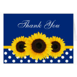 Sunflower Blue and White Polka Dot Thank You Cards