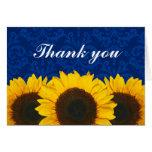 Sunflower Blue Damask Thank You Stationery Note Card