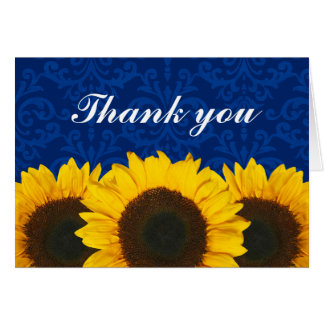 Sunflower Blue Damask Thank You Card