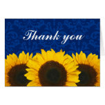 Sunflower Blue Damask Thank You Greeting Card