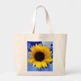 Sunflower Blue Large Tote Bag