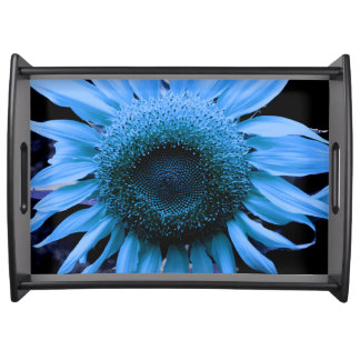 Sunflower - blue serving tray