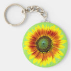 Sunflower Bold Floral Yellow and Green Flower Key Ring