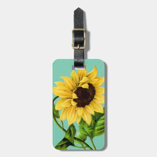 Sunflower Botanical Personalised Luggage Tag