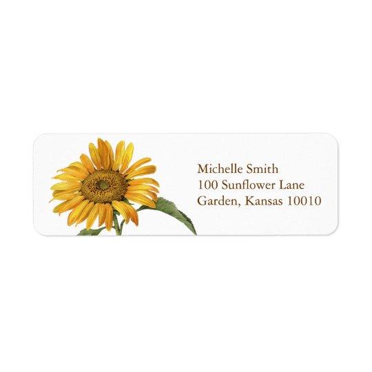 Sunflower Botanical Return Address Label