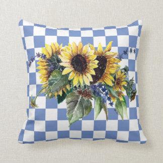 Sunflower Bouquet on Blue Checks Cushion