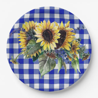 Sunflower Bouquet on Blue Gingham Paper Plate
