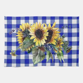Sunflower Bouquet on Blue Gingham Tea Towel