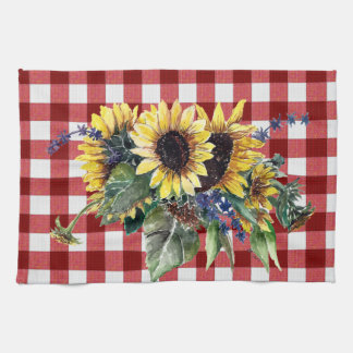 Sunflower Bouquet on Red Gingham Kitchen Towels