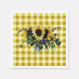 Sunflower Bouquet on Yellow Gingham Disposable Serviettes