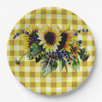 Sunflower Bouquet on Yellow Gingham Paper Plate