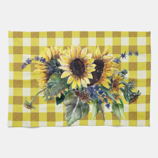 Sunflower Bouquet on Yellow Gingham Tea Towel