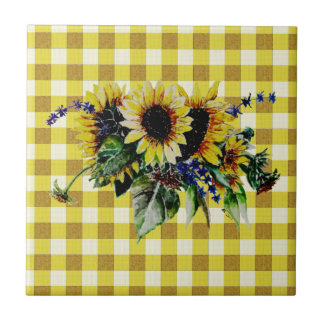 Sunflower Bouquet on Yellow Gingham Tile