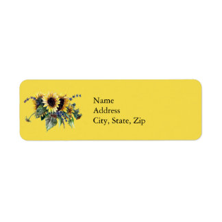 Sunflower Bouquet Return Address Label