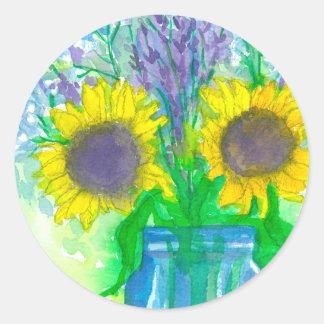 Sunflower Bouquet Round Sticker