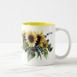 Sunflower Bouquet Two-Tone Coffee Mug