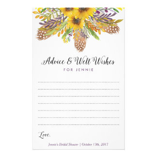 Sunflower Bridal Shower Advice Cards