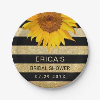 Sunflower Bridal Shower Modern Black & Gold Stripe Paper Plate