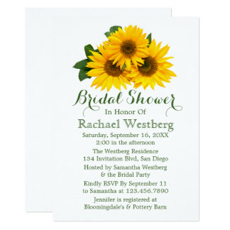 Sunflower Bridal Shower Yellow & Green Floral Card