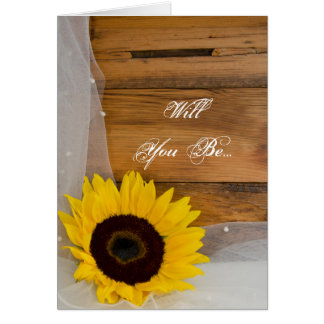 Sunflower Bridal Veil Will You Be My Bridesmaid Greeting Card