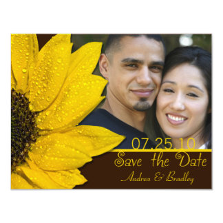 Sunflower Brown Photo Wedding Save the Date Card 11 Cm X 14 Cm Invitation Card