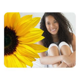 Sunflower Brown Yellow Photo Graduation Invitation