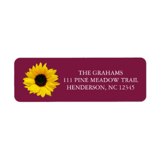 Sunflower Burgundy Return Address Label
