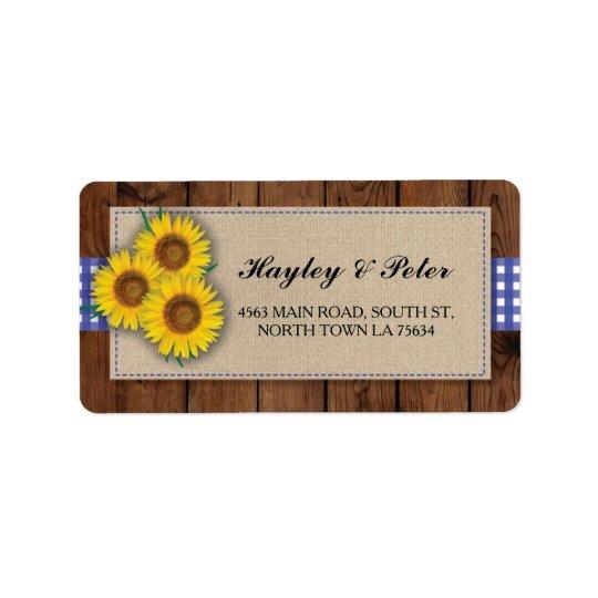 Sunflower Burlap Blue Check Elegant Address Labels