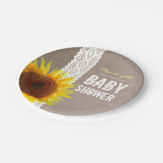 Sunflower Burlap & Crochet Lace Baby Shower 7 Inch Paper Plate