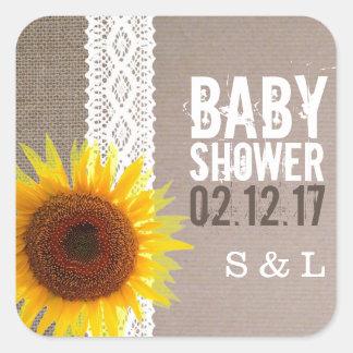 Sunflower Burlap & Crochet Lace Baby Shower Square Sticker