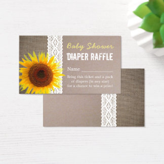 Sunflower Burlap & Lace Baby Diaper Raffle Ticket
