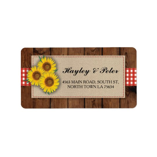 Sunflower Burlap Red Check Elegant Address Labels