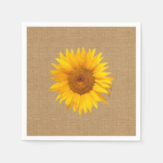 Sunflower Burlap Rustic Wedding Paper Napkin