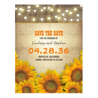 Sunflower Burlap String Light Rustic Save the Date Postcard