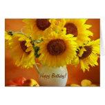 Sunflower Burst Bouquet Birthday Cards