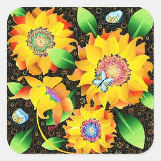 Sunflower Butterfly Garden Square Sticker