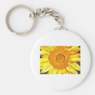 Sunflower by Paula Atwell Basic Round Button Key Ring
