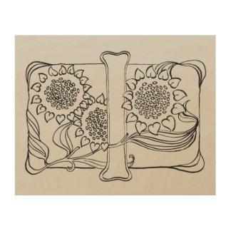 Sunflower Calligraphy I Wood Wall Art