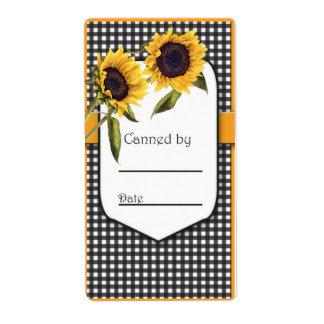 Sunflower Canning Jar Label