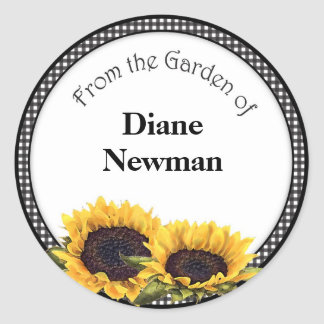 Sunflower Canning Jar Personalized Stickers