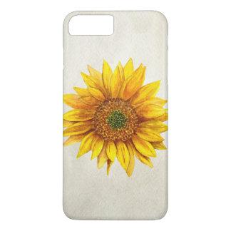 Sunflower case. Rustic watercolor yellow flower iPhone 8 Plus/7 Plus Case