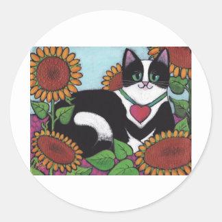 Sunflower Cat Classic Round Sticker