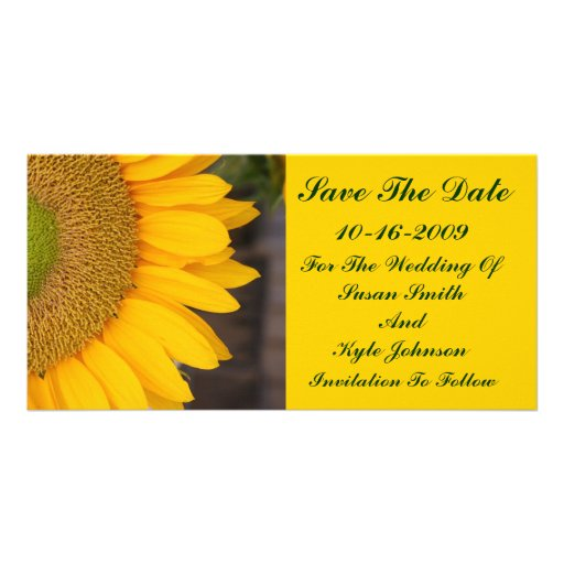 Sunflower Center Floral Wedding Save The Date Custom Photo Card
